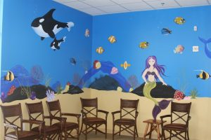 A Bright Future Pediatrics, Plano, Texas, Under the Sea with an Orca Whale and Mermaid Mural